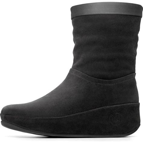 fitflop crush boots comfortable black suede ankle boots