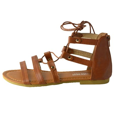 gladiator strappy flat sandals s lace up ankle tie back zip open toe strappy