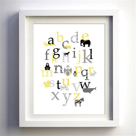 Baby Nursery Wall Decor Retro Animal Alphabet By Fancy Modern Nursery Wall Decor