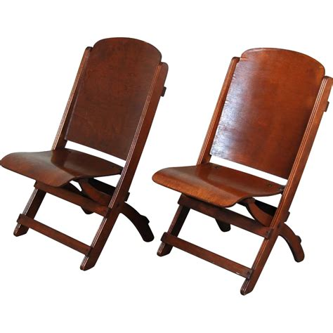 pair vintage wooden folding chairs theater seats from
