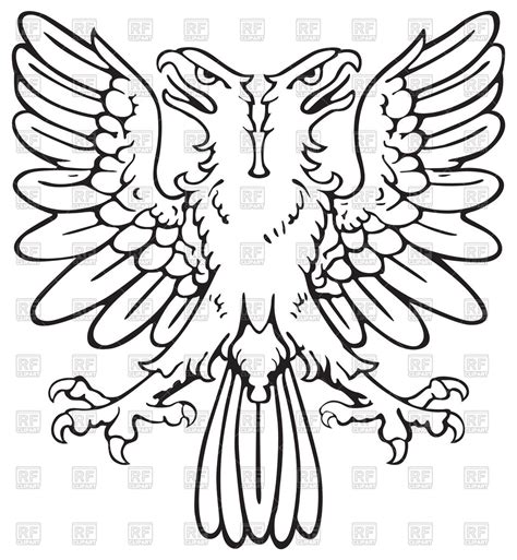 two headed heraldic eagle spreading wings vector clipart