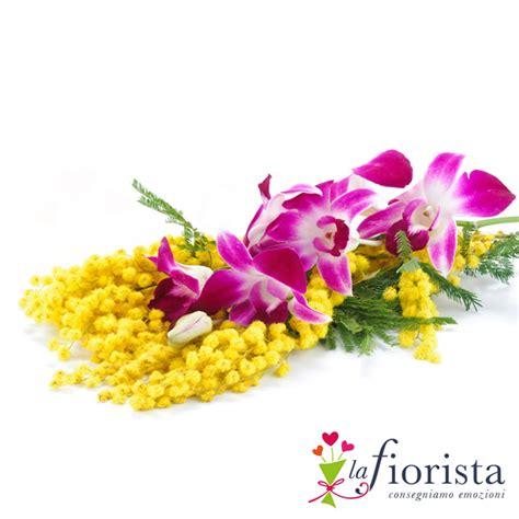 mazzo di fiori con mimose mazzo di mimosa e orchidea dendrobium fiori