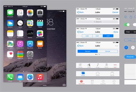 layout iphone psd ios 8 iphone 6 plus ui kit psd graphicsfuel