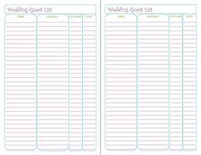 free printable wedding guest list tracker peanut and