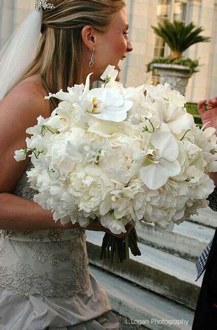Cattleya Peony oversized wedding bouquet featuring white peonies white