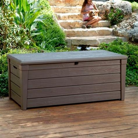 plastic garden storage bench seat keter brightwood plastic garden storage box with seat 455 litre capacity what shed