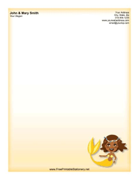 free printable african stationary african american mermaid stationery