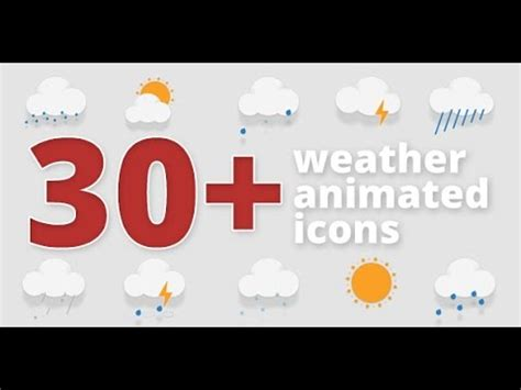 30 Animated Weather Icons After Effects Template Youtube After Effects Weather Template