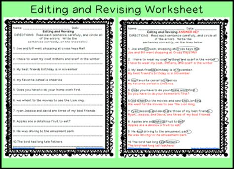 Editing And Revising Worksheets communication arts grammar sentences common