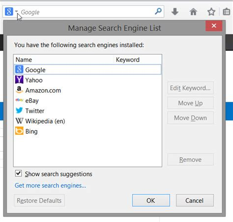 search engine explorer change search engine internet explorer