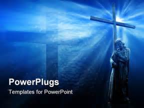 jesus powerpoint templates jesus holding a cross on blue background with white rays