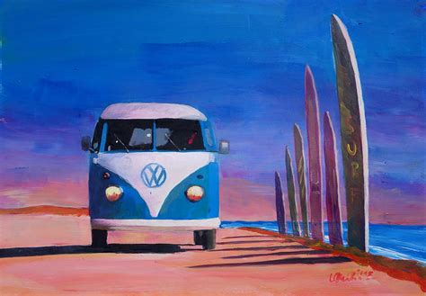 volkswagen photography blue white vw surf t1 kombie bulli surf board painting