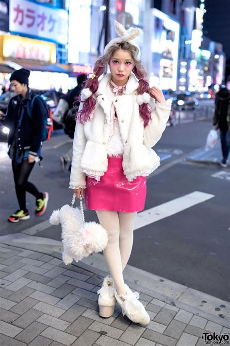 swankiss producers pink twin tails furry jacket vinyl
