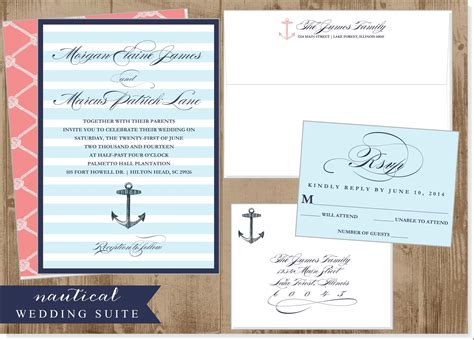 free printable wedding invitations nautical nautical anchor wedding printable invitation suite the