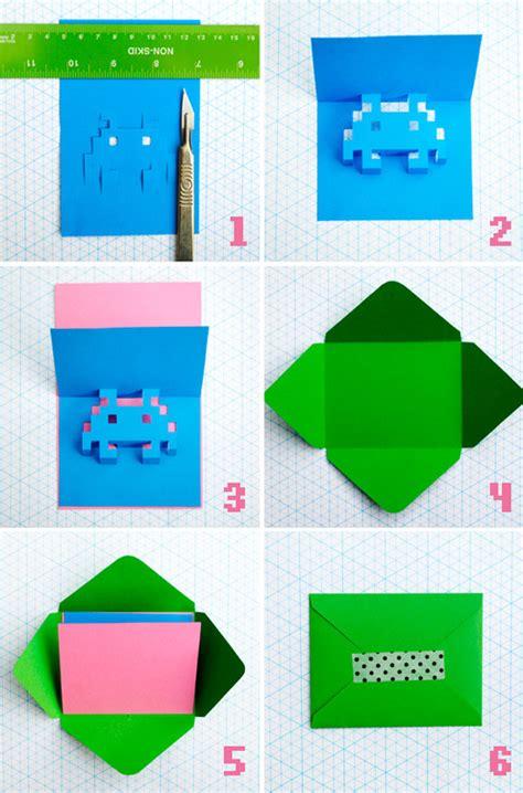 how to make an 8 bit pop up greeting card man made diy