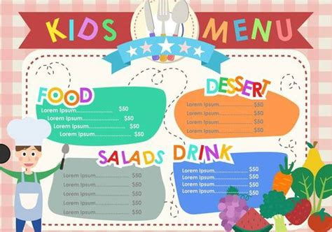 kids menu templates free vector download 374621 cannypic