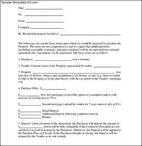 Letter Of Intent To Purchase Real Estate Illinois Sle Letter Of Intent Purchase Agreement Loi Template