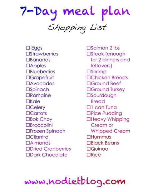 7 days list 7 day healthy plan for athletes diet plan
