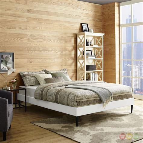 White Platform Bed Frame by Sherry Upholstered Vinyl Leather Platform Bed Frame