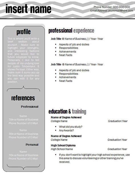 microsoft word compatible gray chevron resume template