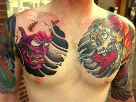 hannya mask tattoo hannya mask chest search ideas