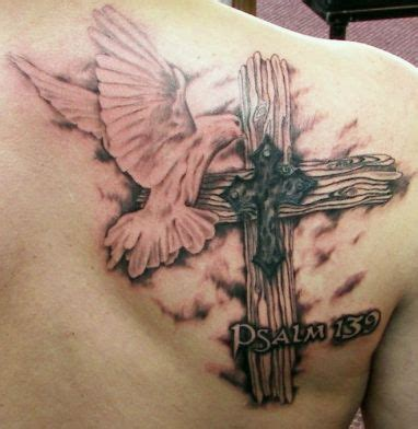 cross and scripture tattoos wooden cross and dove and bible verse cover up