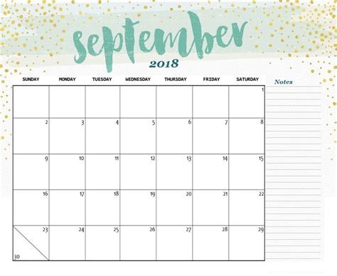printable calendar 2018 girly cute calendar september 2018 printable rudycoby net