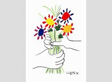 Hand with Bouquet Original Art by Pablo Picasso :: PicassoMio Famous Acrylic Painting