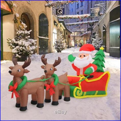 7 inflatable led lit christmas santa in sleigh reindeer