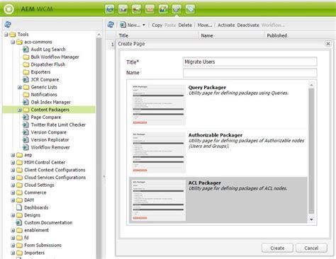 cq5 workflow create acl packager page aem aem cq5 tutorials