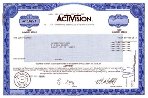 mock certificate activision famous video game company