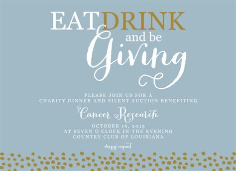 charity dinner invitation letter fundraiser invitation eat drink and be giving