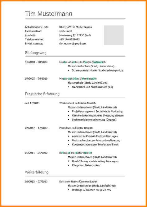 Lebenslauf Muster 2015 by 6 Lebenslauf 2015 Muster Avant Trash