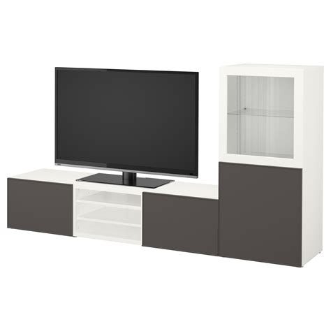 besta grundsviken best 197 tv storage combination glass doors white grundsviken