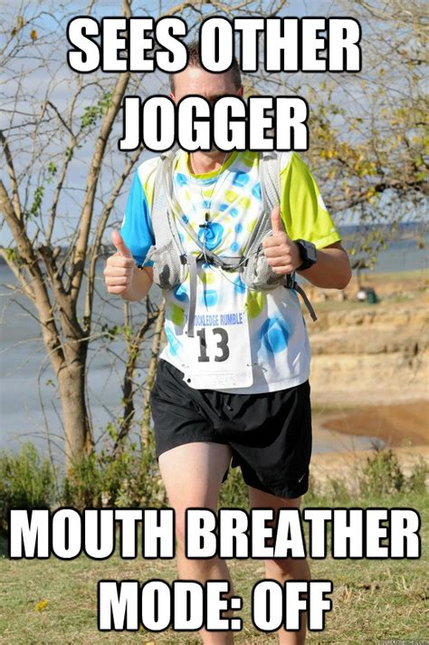 Mouth Breather Meme - sees other jogger pretends to look at something in the