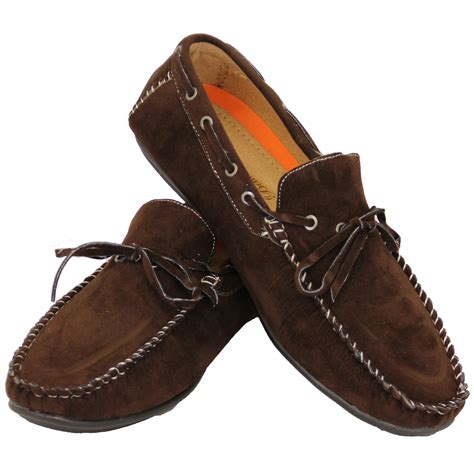 driving boat shoe mens moccasins suede look driving loafers slip on boat