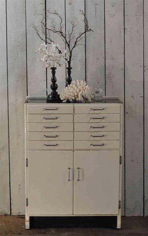 White High Sheen Dentist's Cabinet Vintage Industrial