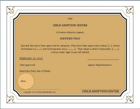 child adoption certificate template ms word adoption birth certificate template formal word