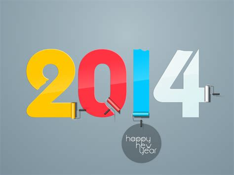 happy new year 2014 color paint vector free vector graphic