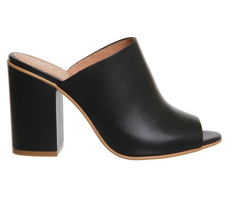 Block Heel Mules office pose block heel mules black leather high heels