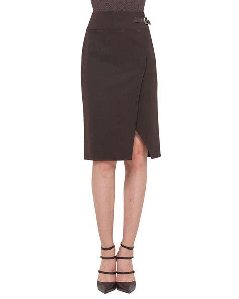 High Waist Slit Pencil Skirt lyst akris faced high waisted slit pencil skirt