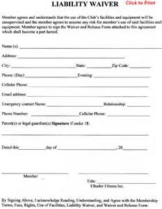 waiver of responsibility template member agreement liability waiver template