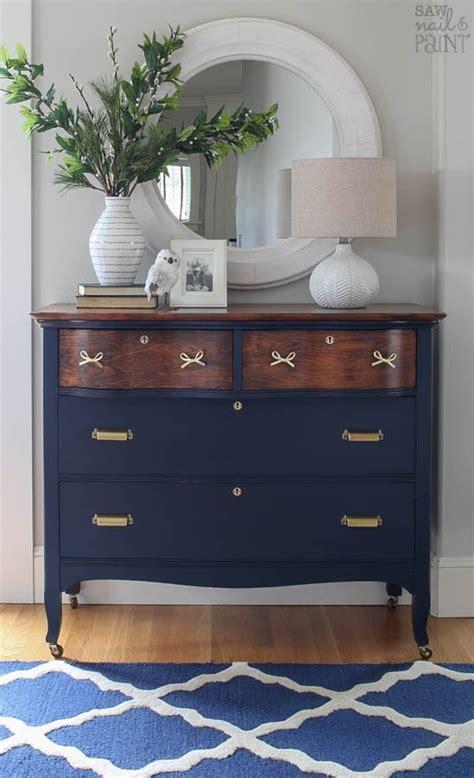 Coastal blue and antique walnut dresser general finishes design center
