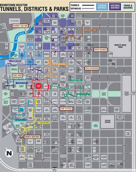 texas downtown map downtown houston map of streets