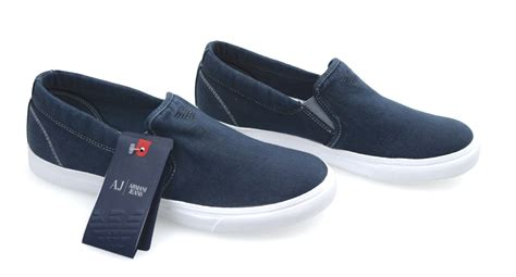 armani shoes armani sneaker slip on shoes or blue cotton