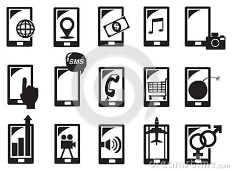 illustrator tutorial vector handphone handphone function icon set vector illustration stock