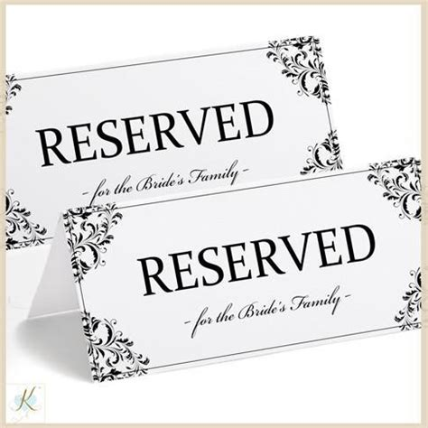 Printable Reserved Sign Tent Nadine Black Table Sign Template
