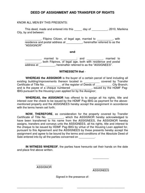 usufruct agreement template deed of assignment and transfer of rights