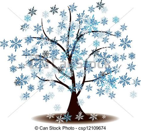 winter tree snowflakes stock vector winter s tree covered with snow