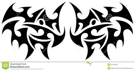 symmetrical tribal tattoos tribal element stock vector image of wing